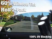 "Complete Car Window Wrap 60% Smoke Tint Glass Vinyl Film 30"" x 60"" 2-roll pack"