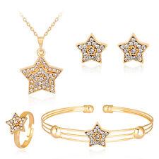 Women Stars Rhinestone Necklace Bracelet Ring Earrings Pendant Jewelry Set