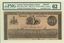 Ireland 1 Pound National Bank Banknote 1908 - Proof PMG 62 UNC