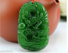 100% Natural green Chinese Hetian Jade 100% Handcarved dragon Pendant & necklace