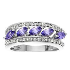 Natural Tanzanite and Diamonds Band Engagement Ring 14k White Gold