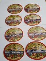8 DIFFERENT VINTAGE OLD SCOTTISH JAM LABELS SUPERB FRUIT PICS KIRKWALL ORKNEYS D