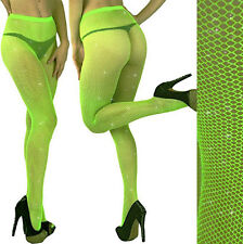 LIME GREEN- Silver GLITTER FISHNET PANTYHOSE/TIGHTS/CROSSDRESSER/Neon/DRAG QUEEN