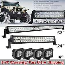 "52Inch LED Light Bar Combo + 20in +4"" CREE PODS OFFROAD SUV 4WD ATV FOG JEEP 50"