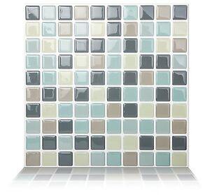 Tic Tac Tiles 3D Peel and Stick Wall _ MosaicMintgray(25cm x 25cm x 10sheets)