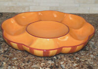 Gail Pittman Southern Living At Home CHIP & DIP Siena, Orange Rust Stripe, EXC!