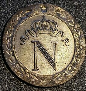 1808 Napoleon 10 Centimes - Billon (Ag/Au) - Extremely Fine - Rare in this Cond.