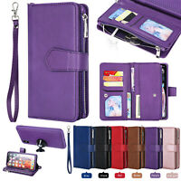 Detachable Zipper Leather Wallet Case for iPhone 11 Pro Max XS 78 XR Samsung S10