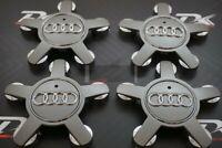 Silber 4x 135mm Alufelgen Felgendeckel Nabenkappen Cap für AUDI grau