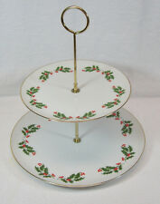 Kashima Christmas Holly 2 Tiered Serving Tray Plates Porcelain Japan
