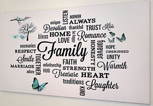 FAMILY QUOTE  TURQUOISE BUTTERFLY  CANVAS PRINT WALL ART PICTURE  18 X 32 INCH
