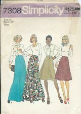 S 7308 sewing pattern 70's gored SKIRTS in 2 lengths sew Boho Retro Chic size 16