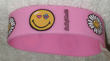 RUBBER SILICON WRISTBANDS  *** SMILEY FACE ***  NEW - 25 cm - COLOUR PINK/YELLOW
