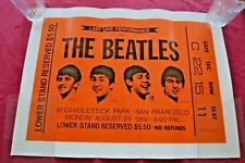 Vintage Beatles Last Concert Ticket Stub Poster San Fran 1966 Lennon Heavy Stock