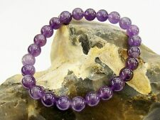 Men's Natural Gemstone Bracelet Amethyst 8mm beads stretchable elasticated