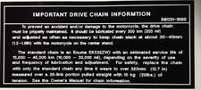 KAWASAKI ZX10 ZX-10 TOMCAT NINJA IMPORTANT DRIVE CHAIN CAUTION WARNING DECAL