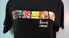 Harrods of London T Shirt Small Black Scenes Of London Ships Free