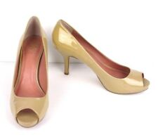 "VINCE CAMUTO, sz 8.5 B, Patent Leather, Open Toe, Light Tan Beige, 3"" Pump Heel"