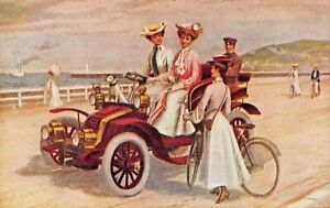WOMEN DRIVING AUTOMOBILE-MAN IN THE BACK-WOMAN & BICYCLE-ARTIST POSTCARD