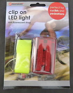 LED CLIP ON LIGHT AND FLUORESCENT STRAP IDEAL CYCLISTS PEDESTRIANS CHILDREN ETC