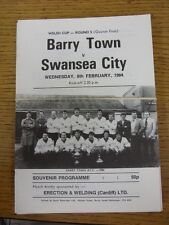 08/02/1984 Barry Town v Swansea City [Welsh Cup] . Good condition unless previou