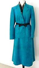 vtg Peinceton Skirt Suit SizeL Turquoise Soft Suede leather Blazer,A-line Skirt