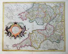 MERCATOR HONDIUS SÜDWEST ENGLAND CORNUBIA, DEVONIA, SOMERSETUS DORCESTRIA 1606