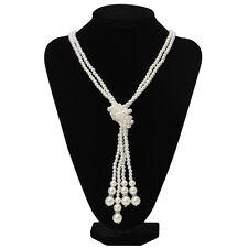 59c8cd02c879 Nudo de moda para mujer de perlas de imitación Collar Joyería Encantos Collar  Cadena Suéter Largo