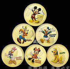 DISNEY Mickey & Friends 1oz ARGENTO MEDAGLIE D'ORO 1oz Souvenir Set 6PCS