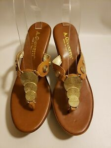 A. Giannetti Women's Wedge Sandals Size 9 Leather Upper Medallion Made in Italy
