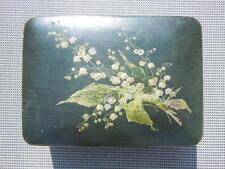 Boite Coffret carton bouilli décor brins muguet époque Napoléon III