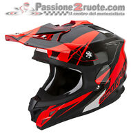 Casco Cross Scorpion VX-15 evo Air Krush rosso fluo enduro motard off road