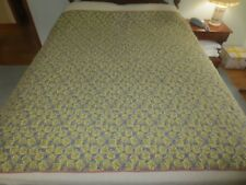 """Hand Quilted GRAY & YELLOW FLORAL Cotton BLANKET QUILT - 66"""" x 66"""""""