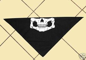 "Black Bikers Skull Bandana, Motorcycle, Motor Sports, Halloween, Cotton, 21"" Sq."