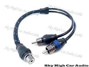 Sky High Car Audio RCA Y Splitter Cables 1F2M One Female Two Male Triple Shield