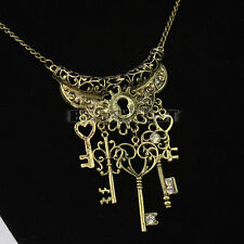 New Fashion Vintage Multi-style Key Pendant Bronze Color Chain Necklace Gift