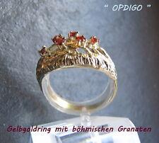 """Gelbgoldring 333/ mit 6 echten böhmischen Granaten   """"handmade  Idar-Oberstein"""""""