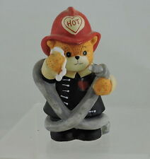 1990 Enesco Hot Fireman Firefighter Bear Figurine Lucy & Me Lucy Rigg