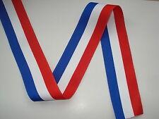 Ruban tricolore BLEU BLANC ROUGE largeur 38mm vendu au ml (conscrits, medailles)
