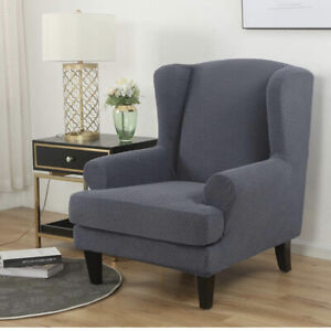 Elastic Wing Chair Cover Stretch Jacquard Sofa Covers, 2-Piece Spandex Gray