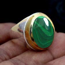 Malachite Gemstone Solid 925 Sterling Silver Handmade Mens Ring Jewelry