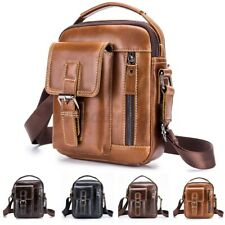 Men Retro Genuine Leather Business Briefcase Casual Shoulder Bag Phone Satchel