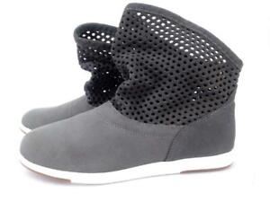 Emu Australia Numeralla Fashion Boots Suede Leather Perforated Gray Women's Sz 7
