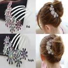 Women Crystal Rhinestone Petal Tuck Comb Flower Hair Pin Hair Clip Hairpin c