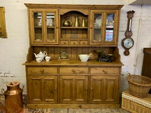FANTASTIC QUALITY COUNTRY PINE DRESSER WITH GLAZED TOP