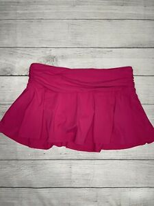 Lands End Size 12 Swim Skirt Bottoms Pink Ruched Modest Slimming