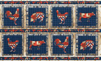 Americana 4th on the Farm 100% Cotton Fabric Panel 8 block approx 24 X 44 inch