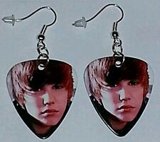 """Plated Dangle Jewelry """"One Time"""" Justin Bieber Guitar Pick Earrings Silver"""