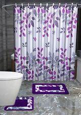 13PC HINATA PURPLE FLORAL Printed Design Bathroom Fabric Shower Curtain Set Hook