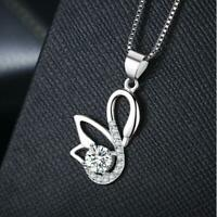 Silver SP Pave Cubic Zirconia Lovely Swan Pendant Necklace